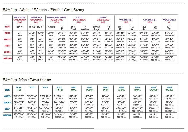 BodyWrappers Size Chart: Worship
